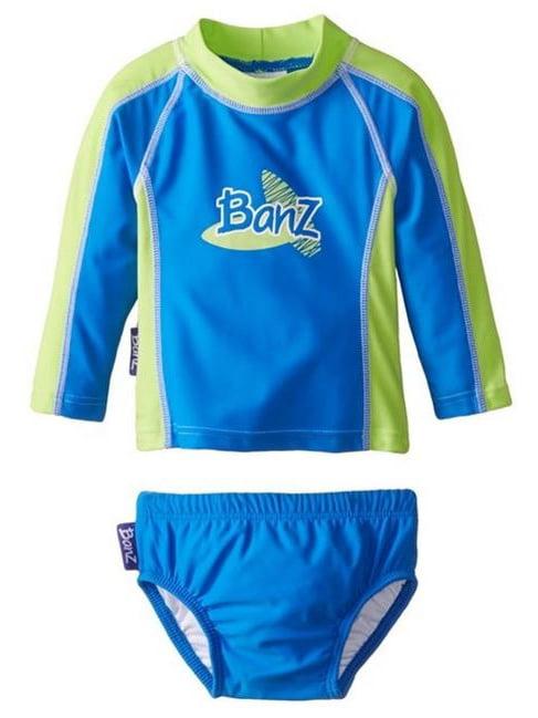 Banz BZ14-S2-CG-1 Baby Long Sleeve Rash Guard & Nappy Set, Blue & Green - Size 1