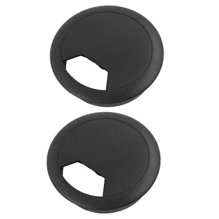 Uxcell 50mm Drill Hole Plastic Computer Desk Cable Cord Grommets Black (2-pack) ()