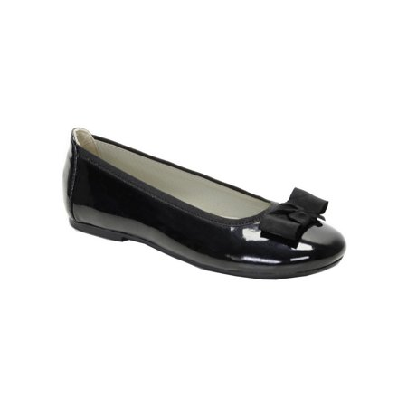 Pazitos Girls Patent Black Bow Trim Ballerina Flats