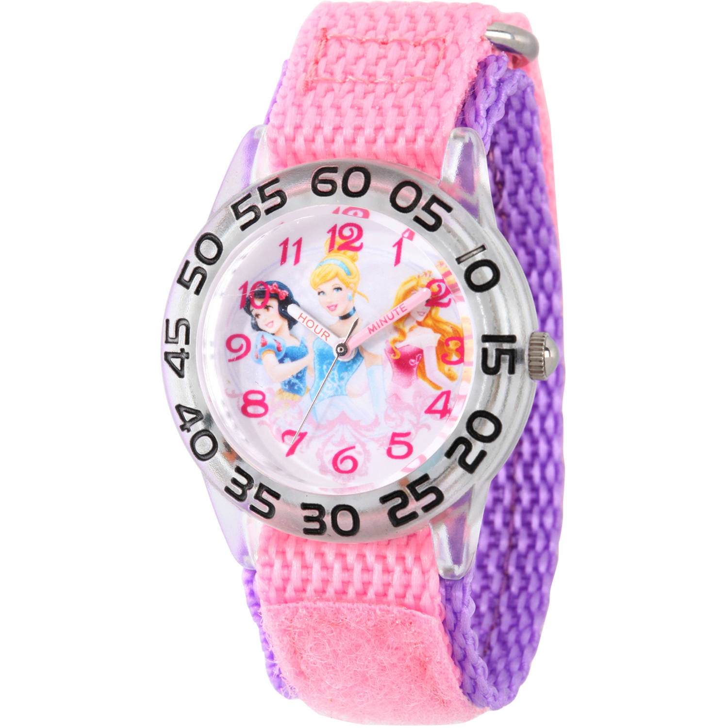 Disney Princess Snow White, Cinderella and Aurora Girls' Plastic Time Teacher Watch, Pink Nylon Strap