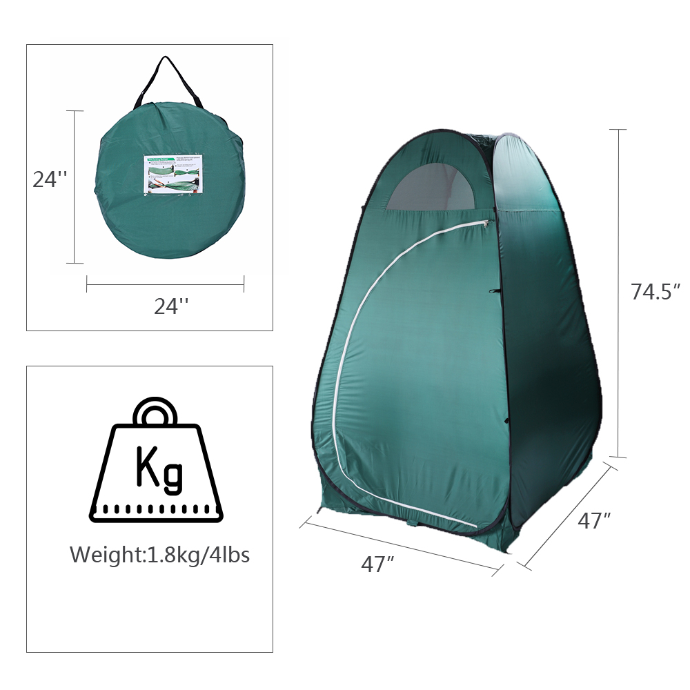 Ktaxon Collapsible Portable Indoor/Outdoor Changing Room - Green, 6.2' Tall, 3.94'X3.94' Base, Pop-up Dressing Tent