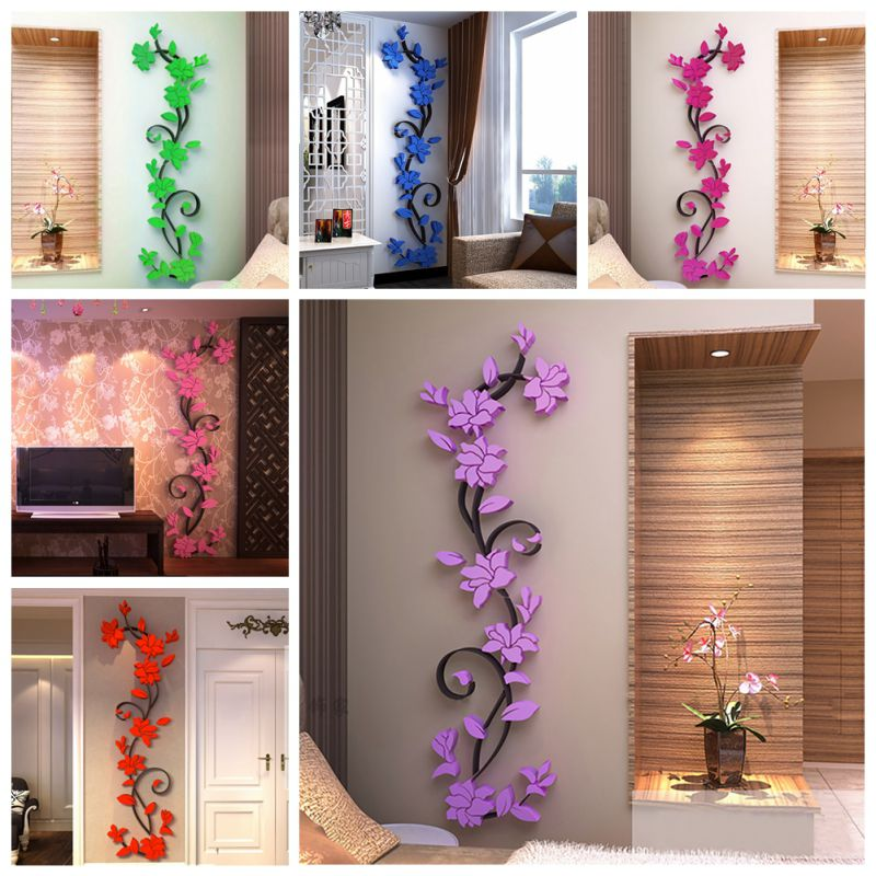 Us 3d Flower Diy Mirror Vinyl Wall Decals Stickers Art Home Room Decor Removable Walmart Com
