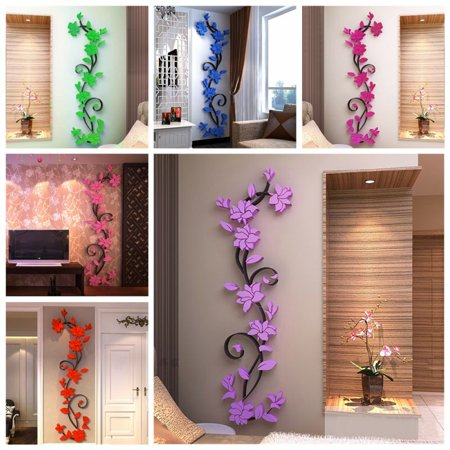 - US 3D Flower DIY Mirror Vinyl Wall Decals Stickers Art Home Room Decor Removable