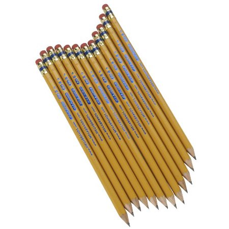 41209 The Write Dudes Premium No. 2 Wooden Barrel Pencils - #2, HB Pencil Grade - 2 mm Lead Size - Fine Pencil Point Type - Graphite Lead - Yellow Barrel - 12 / Pack (Usa Gold Pencils)