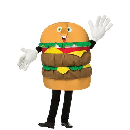Adult Cheeseburger Mascot Costume - Size Up to 6'3