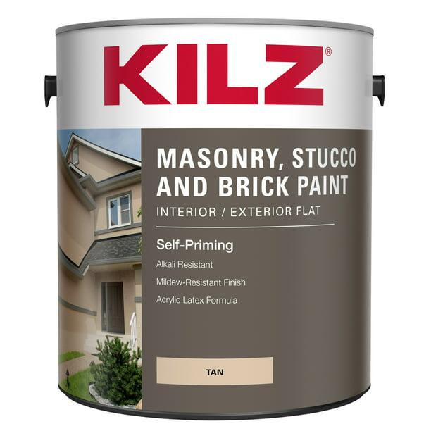 Kilz Interior Exterior Masonry Stucco Brick Flat Paint 1 Gallon Walmart Com Walmart Com