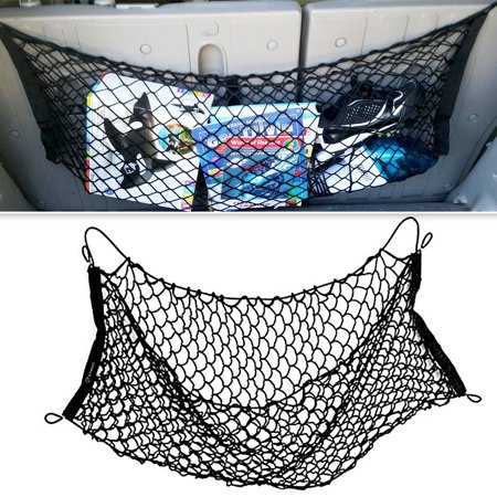 Zone Tech Mesh Vehicle Organizer Sturdy Black Net Item Trunk Cargo Car Organizer