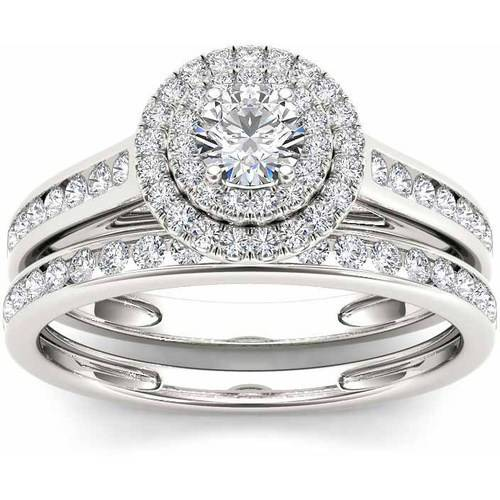 3/4 Carat T.W. Diamond Double Halo 10kt White Gold Engagement Ring Set