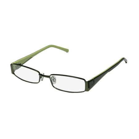 New D&a Kaji Mens/Womens Rectangular Full-Rim Green Trendy Affordable Color Combination Frame Demo Lenses 51-17-135 Spring Hinges Eyeglasses/Eye Glasses ()