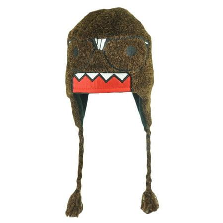 Terry Cap - Domo Kun Character Nerd Glasses Knit Terry Cloth Beanie Peruvian Laplander Hat