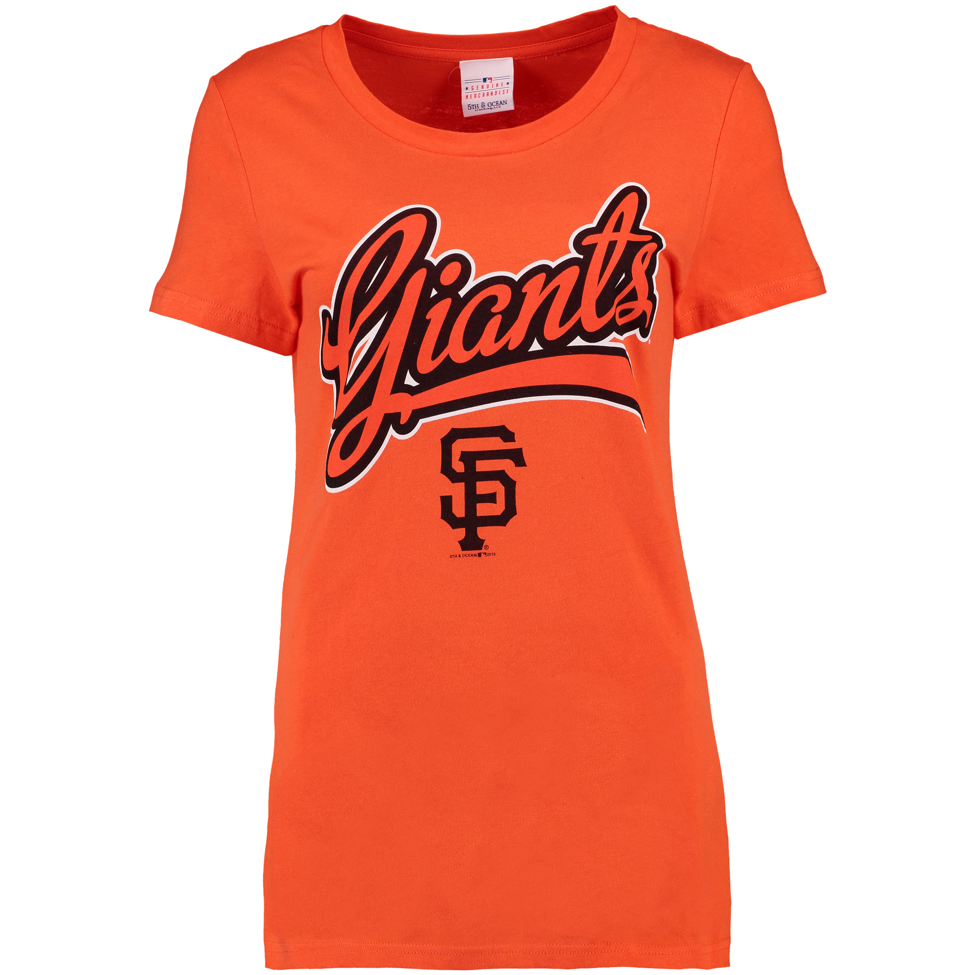 San Francisco Giants 5th & Ocean by New Era Women's Holiday T-Shirt - Orange