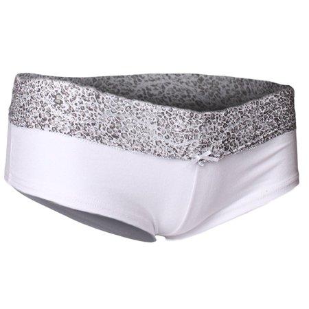 Emmalise Women's Cotton Blend Hipster Boy Short Panty Underwear Lace Trim - Junior Sizing