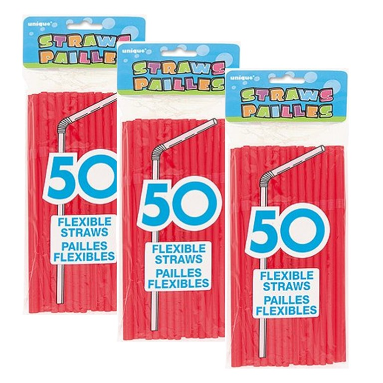 Unique Flexible Plastic Straws, 8 in, Red, 150 Ct (3 Packs of 50)