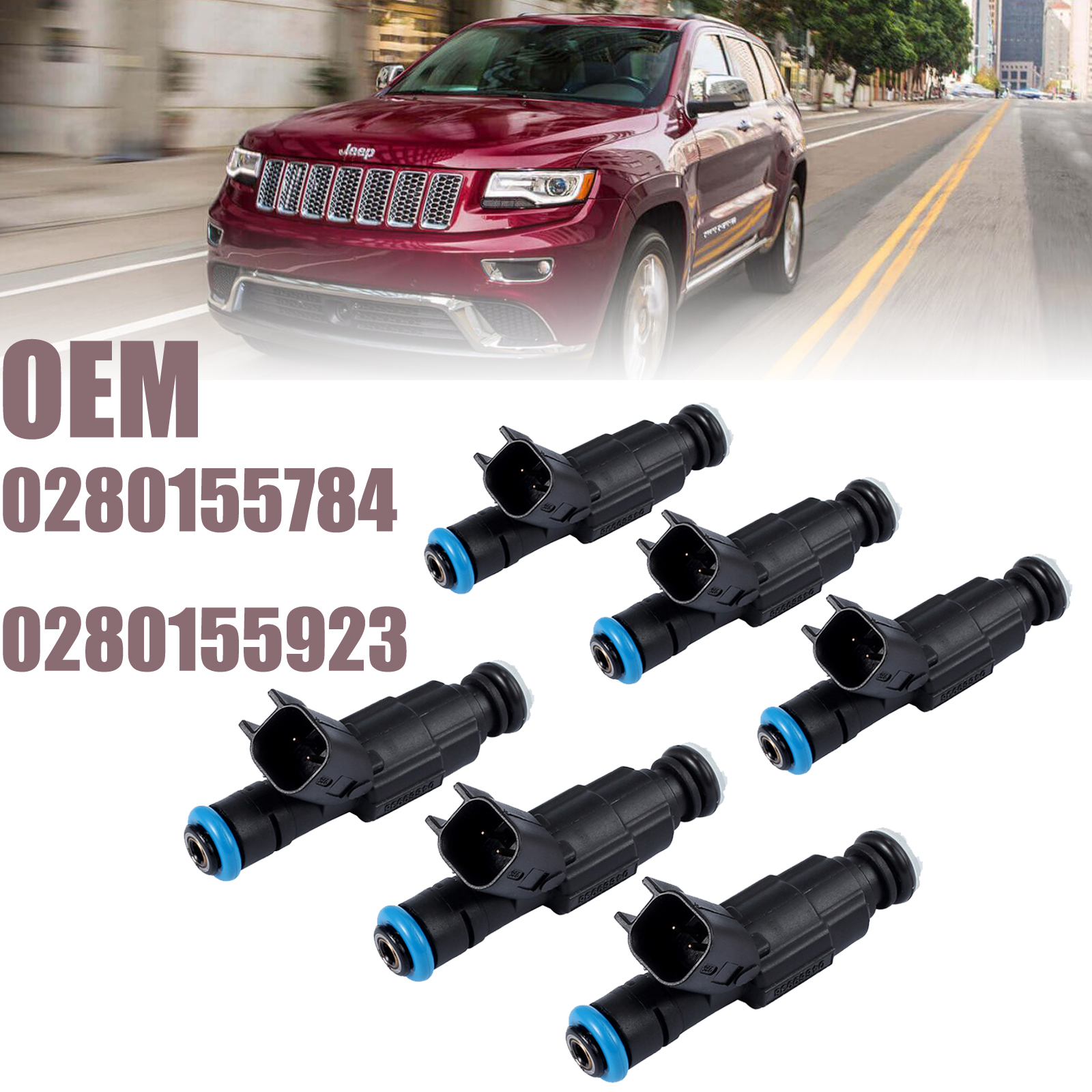 6 PCS 4-Hole Upgrade Fuel Injectors For 99-04 4.0L Jeep Cherokee 0280155784 NEW