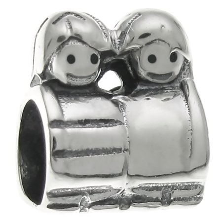 Queenberry Sterling Silver Little Sister Brother European Style Bead Charm Fits -