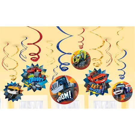 Blaze and the Monster Machines Value Pack Foil Swirl Decorations - Party Supplies (Monster Door Decorations)