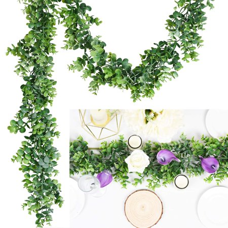 Coolmade Artificial Vines Faux Eucalyptus Garland, Fake Eucalyptus Greenery Garland Wedding Backdrop Arch Wall Decor, 6.2 Feet/pcs Fake Hanging Plant for Table Festival Party Decorations](Artificial Eucalyptus Garland)