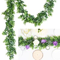 Coolmade Artificial Vines Faux Eucalyptus Garland, Fake Eucalyptus Greenery Garland Wedding Backdrop Arch Wall Decor, 6.2 Feet/pcs Fake Hanging Plant for Table Festival Party Decorations