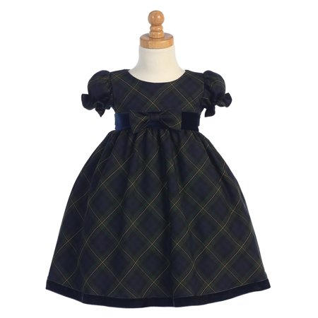 Baby Holiday Dresses (Made in the USA - Green Plaid Baby Holiday / Christmas Girls' Dress w/ Velvet)