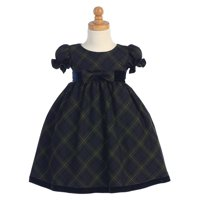 Made in the USA - Green Plaid Baby Holiday / Christmas Girls' Dress w/ Velvet Trim