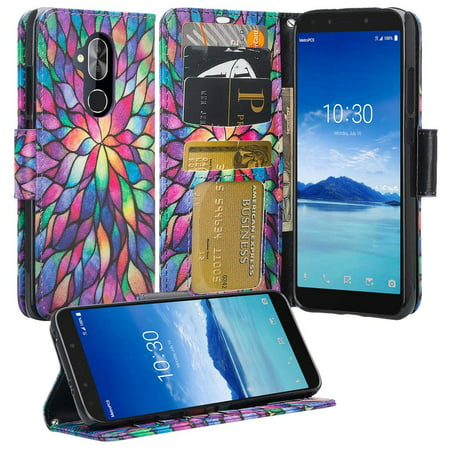 T-Mobile Revvl 2 Plus Case, Alcatel 7 Folio Case, Alcatel 7 Case, PU Leather Flip Fold Wallet Case [Kickstand Feature] with [ID&Credit Card Slot] - Rainbow - image 4 de 4