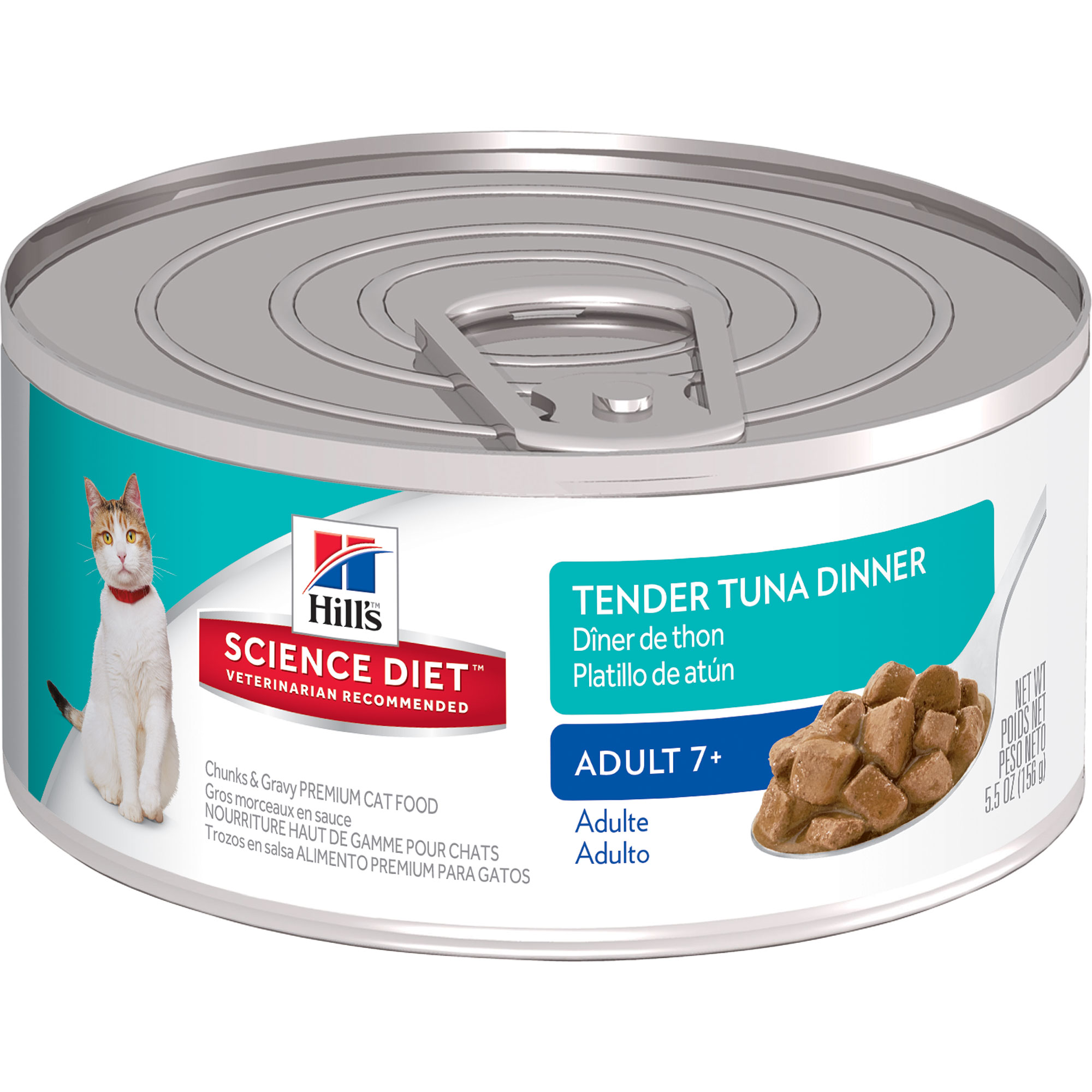 Hill's Science Diet (Get $5 back for every $20 spent) Adult 7+ Tender Tuna Dinner Chunks & Gravy Canned Cat Food, 5.5 oz, 24-pack