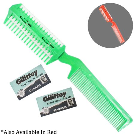 Grooma Comb - 7-3/4 Inch Plastic And Stainless Steel  Pet Grooming Comb With Built In Razor Blade For Hair Trimming