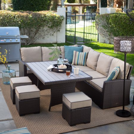 Belham Living Monticello All-Weather Wicker Sofa Sectional Patio Dining Set with Beige Cushions