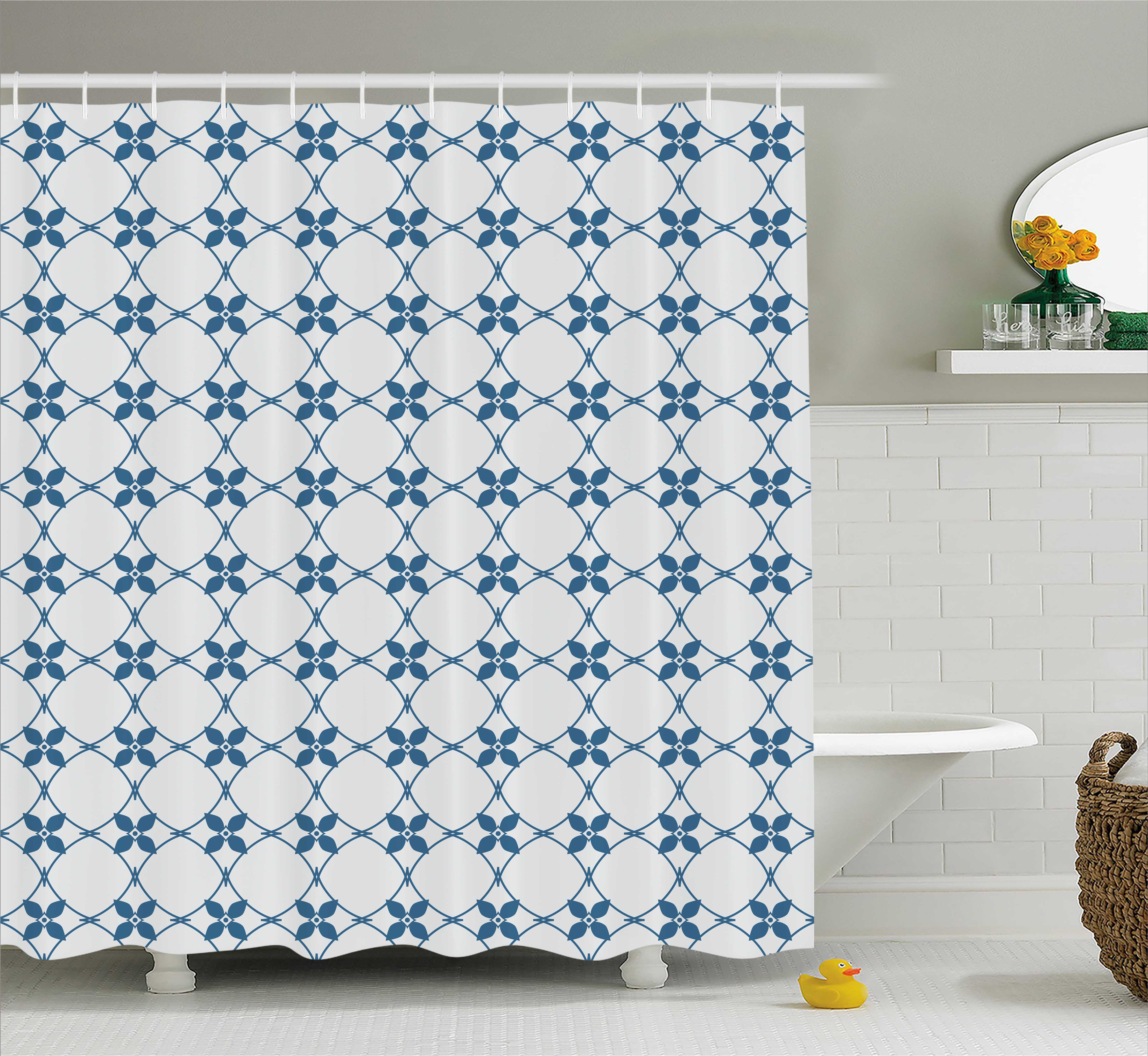 Chinese Shower Curtain, Starry Shapes and Contiguous Circles in Galactic Sky Inspired Far Eastern Style, Fabric Bathroom Set with Hooks, 69W X 84L Inches Extra Long, Blue White, by Ambesonne