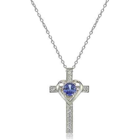 Sterling Turquoise Cross (Sterling Silver Tanzanite & White Topaz Heart in Cross Necklace)