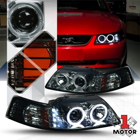 02 Fog Lamp Auto Car - Smoked Dual Halo Projector Headlight LED DRL Amber Signal for 99-04 Ford Mustang 00 01 02 03