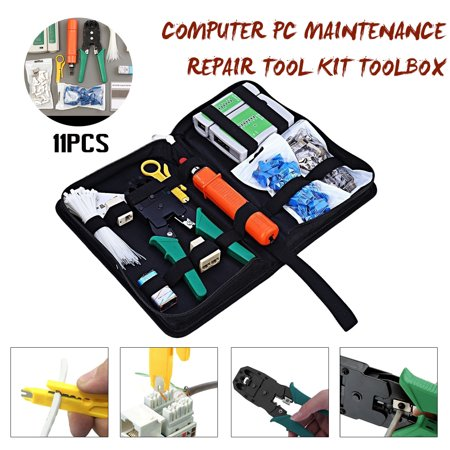 11 in 1 RJ45 Cat5 Rj45 Ethernet Connector Test Network Computer Maintenance Repair Kit Net Pliers Cable Tester Crimper Plier Hand Tool