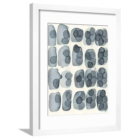 Indigo Five Minimal Abstract Circles Framed Print Wall Art By Nikki Galapon