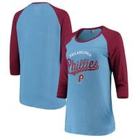 Philadelphia Phillies New Era Women's Cooperstown Raglan 3/4-Sleeve T-Shirt - Light Blue/Maroon