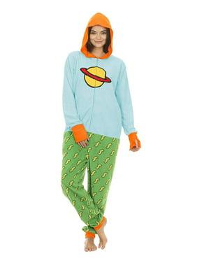 Rugrats Chuckie Adult Union Suit Fleece Onesie Men's or Women's Pajama, Blue/Green, Size: L