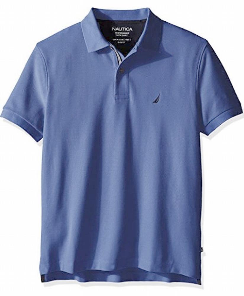 Nautica Men/'s Cobalt Blue Stripe Slim Fit Tech Pique Short Sleeve Polo Shirt