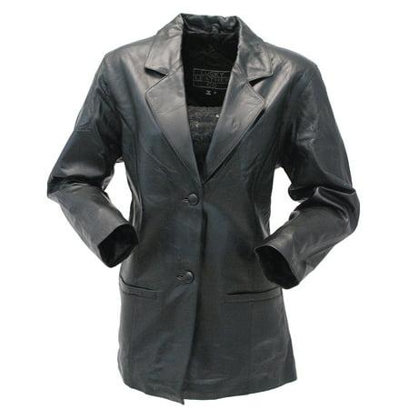 Long Full Figured Women's Lambskin 2 Button Blazer