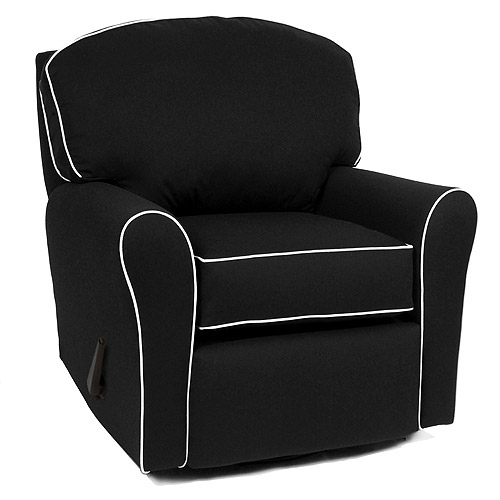 Enchanted - Recliner, Swivel Glider Upholstered Camelot Black w/ White Pipe