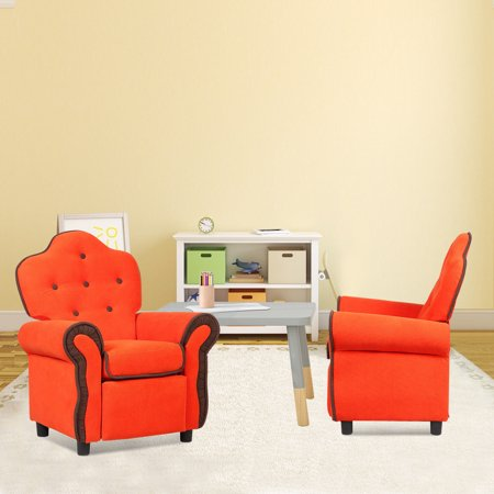 Children Recliner Kids Sofa Chair Couch Living Room Furniture Orange - image 1 de 9
