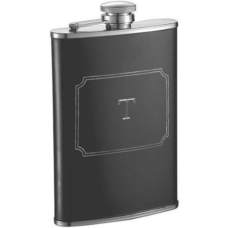 Visol  Marcel Black Matte 8 oz Liquor Flask with Engraved Initial - Letter T