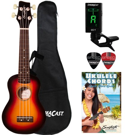 Sawtooth Soprano Sunburst Ukulele with Case, Clip on Tuner, Lesson-Chord Guide, and (Best Ukulele Brand In The Philippines)