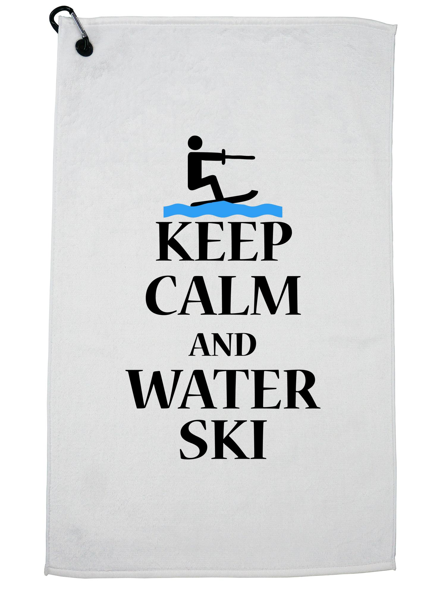 Keep Calm And Water Ski Lake Fun Golf Towel with Carabiner Clip by Hollywood Thread
