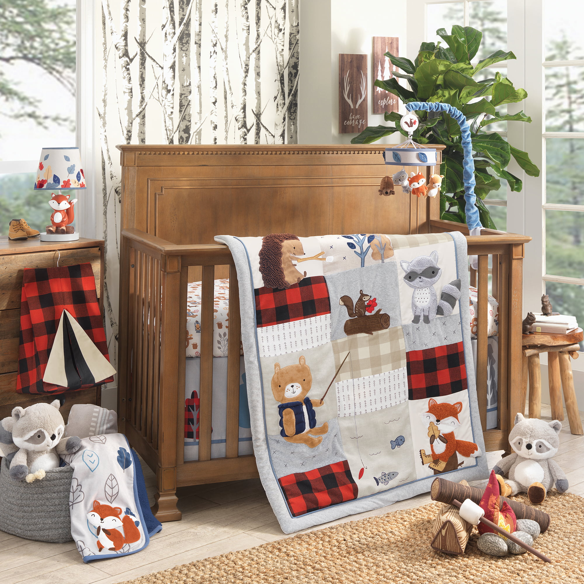 Lambs Ivy Little Campers 5 Piece Crib Bedding Set Blue Red Gray Beige