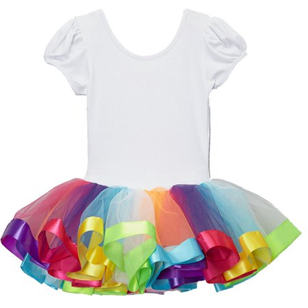 Wenchoice Girl's Rainbow Ballet Dress L(5T-6T) (Rainbow Dresses For Kids)