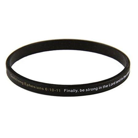 Set of 3 Godstrong Ephesians 6:10-11 Armor of God Thin Silicone Bracelet - Cheapest Silicone Bracelets