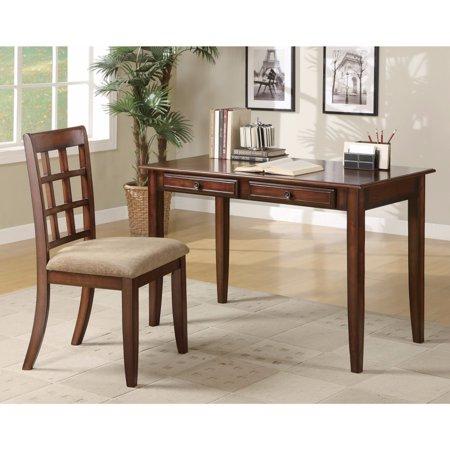 Transitional 2 Piece Wooden Desk Set, Brown