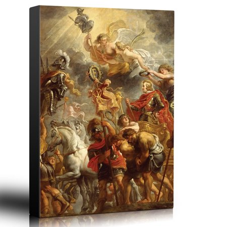 Triumphal Entry - wall26 - Oil Painting of Triumphal Entry of Ferdinand of Austria into Antwerp by Peter Paul Rubens - Baroque Style - Angels - Canvas Art Home Decor - 16x24 inches