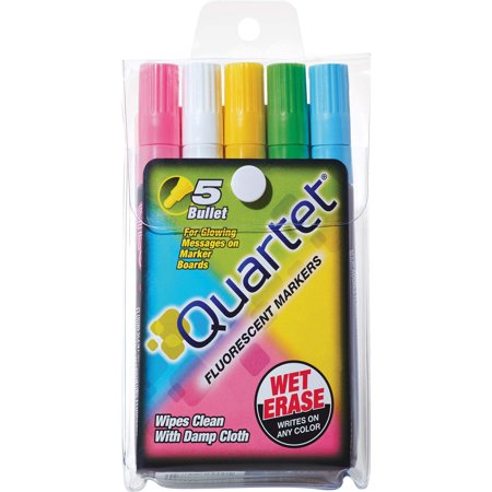Quartet, QRT5090, Glow-Write Fluorescent Wet Erase Markers, 5 / Set