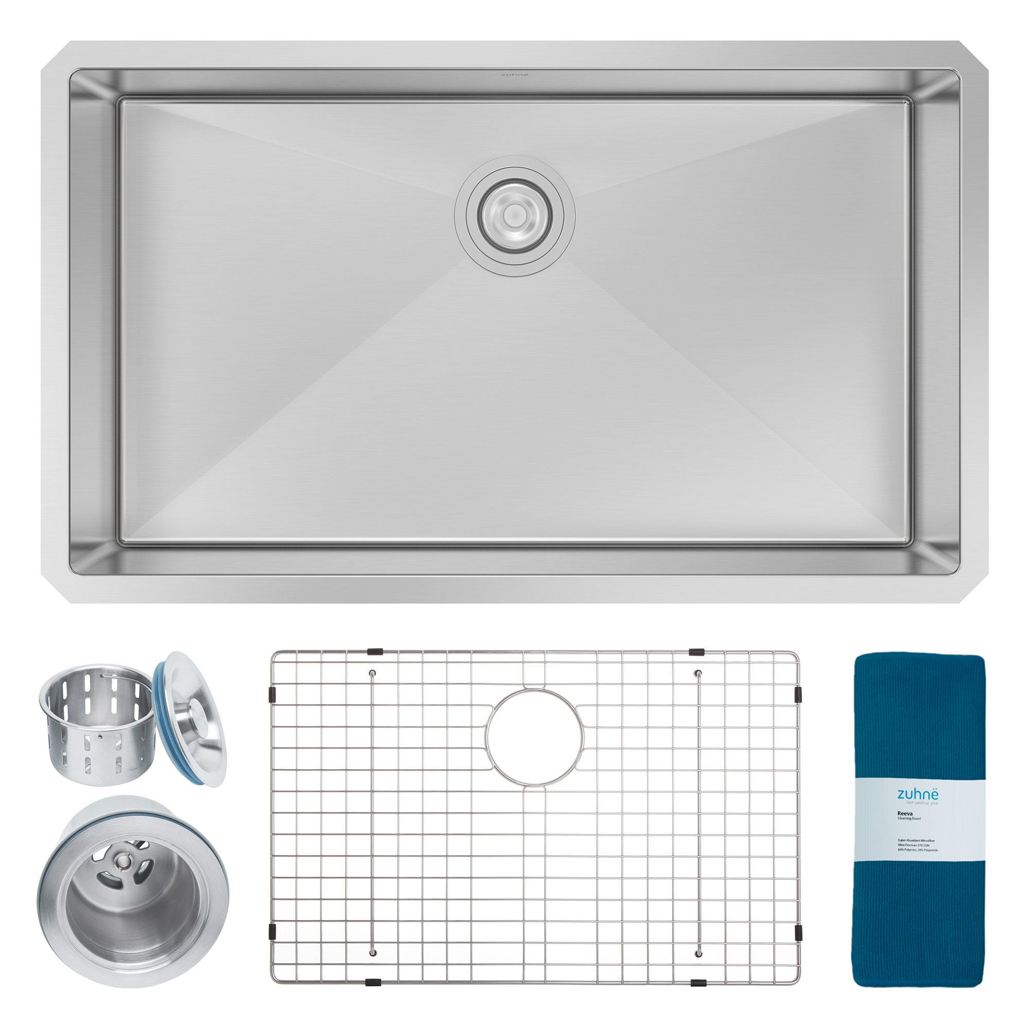 Zuhne Modena 32 Inch Undermount Deep Single Bowl 16 Gauge Stainless Steel  Kitchen Sink