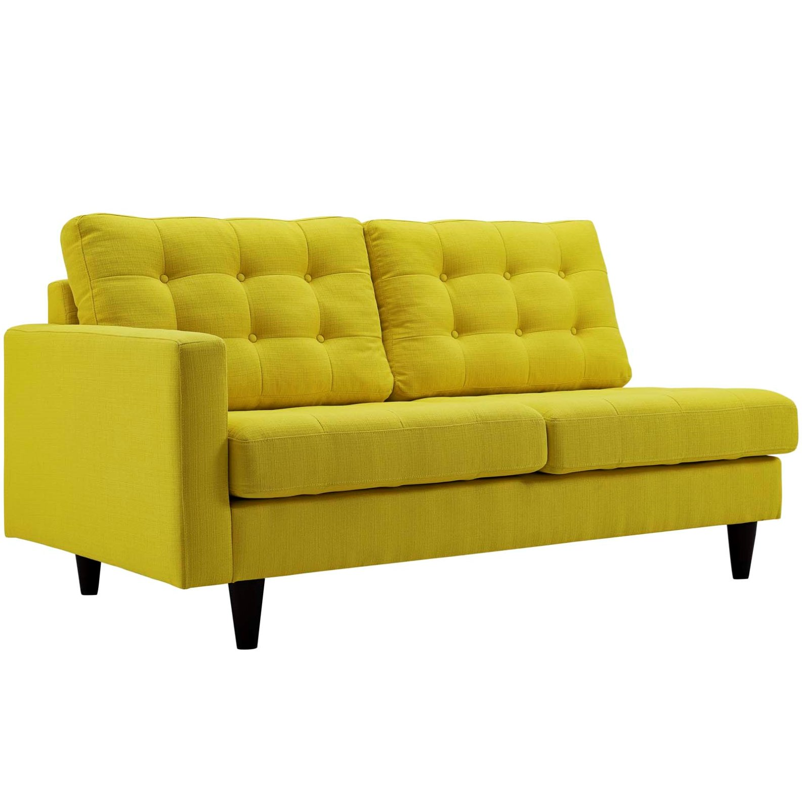 Modern Contemporary Urban Design Living Lounge Room Left-Facing Loveseat Sofa, Yellow, Fabric